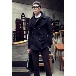 $21.79 Sophisticated Lapel Double-Breasted Solid Color Woolen Long Coat For Men