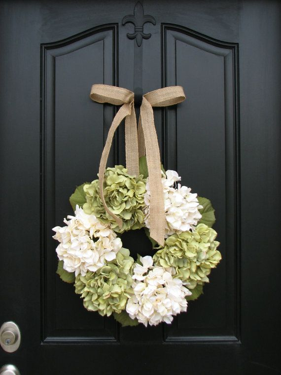 Wreaths - Hydrangea Wreath - Hydrangea Blooms for Spring and Summer, Burlap Bows, Burlap Ribbon, Wreaths, Spring Inspirations, Summer