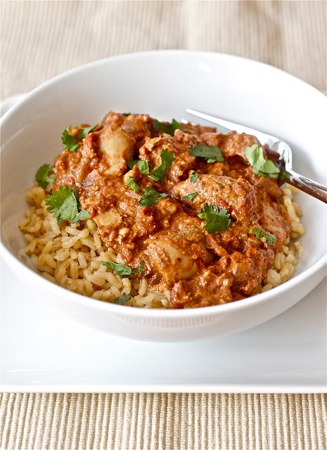 Slow cooker chicken tikka masala!  Holy freakin' cow (chicken)!  **I made this dish the other day and it was pretty darn good.  Ended up adding just a little more sugar and cream than what was originally called for, but still.  Also made garlic naan to go along with this dish.  Fantastic!**