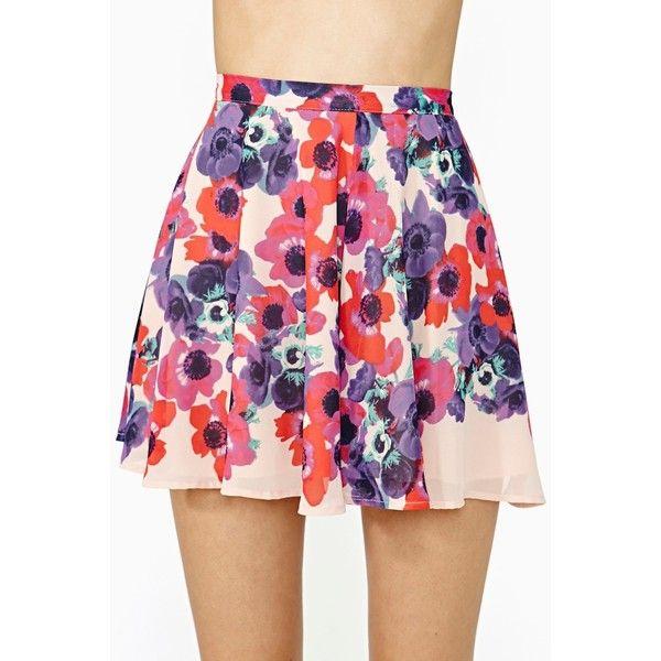 Nasty Gal Bloom Street Skater Skirt ($42) ❤ liked on Polyvore featuring skirts, saias, bottoms, pink, floral print, pink skater skirt, high-waisted skirts, pink chiffon skirt, chiffon skirt and high waisted skater skirt