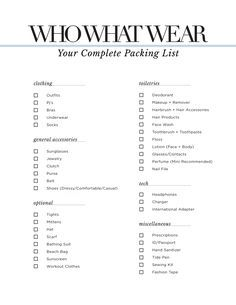 The Only Packing Checklist You'll Ever Need via @WhoWhatWearUK