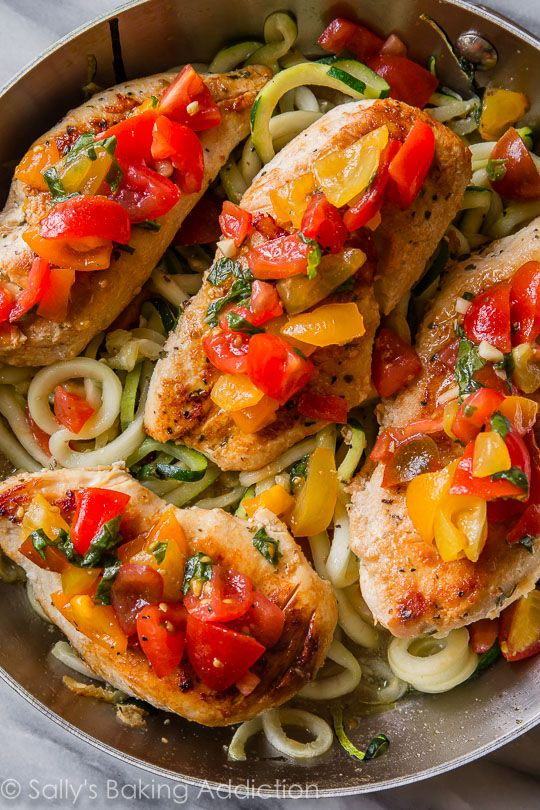 Easy, healthy, and light skillet bruschetta chicken all made in 1 pan ...