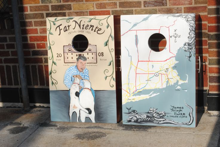 Far Niente and New England style hand painted cornhole set