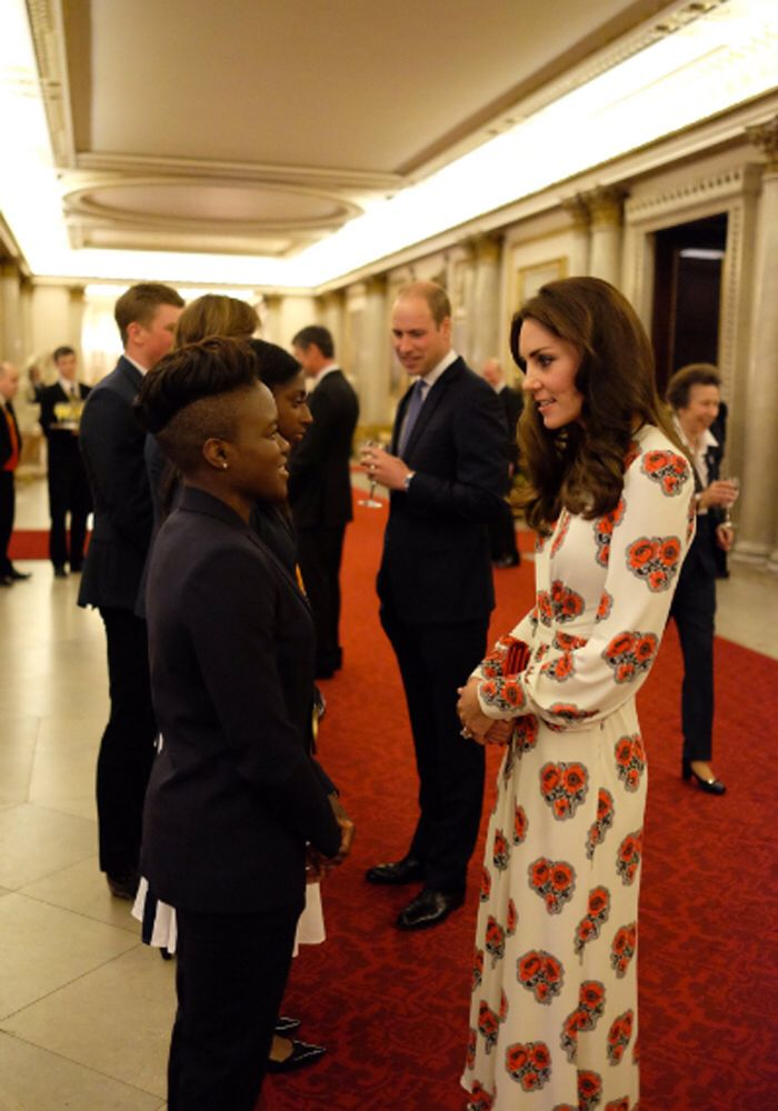 October 18, 2016  In Alexander McQueen while greeting British Olympic and Paralympic athletes at their reception at Buckingham Palace.
