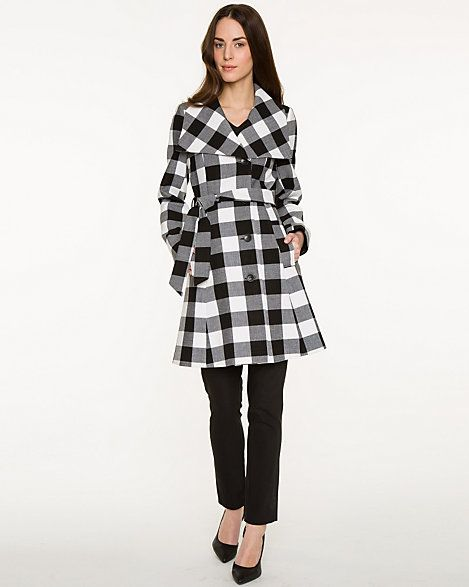 Double Weave Gingham Belted Coat