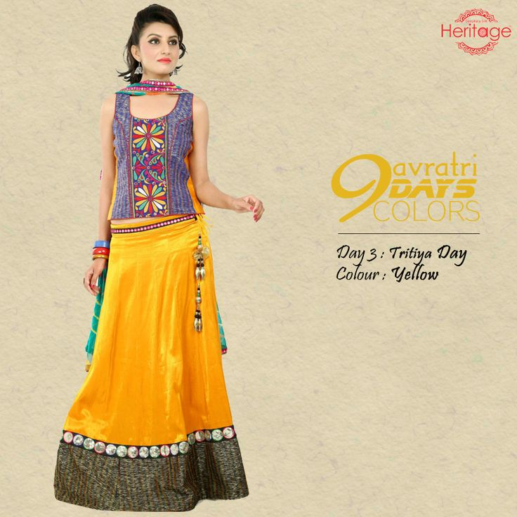 Do you know which colour to wear on the third day of #Navratri? Wear #Yellow tomorrow and shine as bright as the festive season!