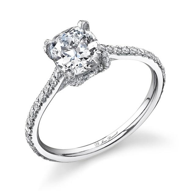 Nice!!! This Riviera cushion-cut diamond engagement ring features a partial micropave-accented band and prong setting in platinum. Ring from Jean Dousset.