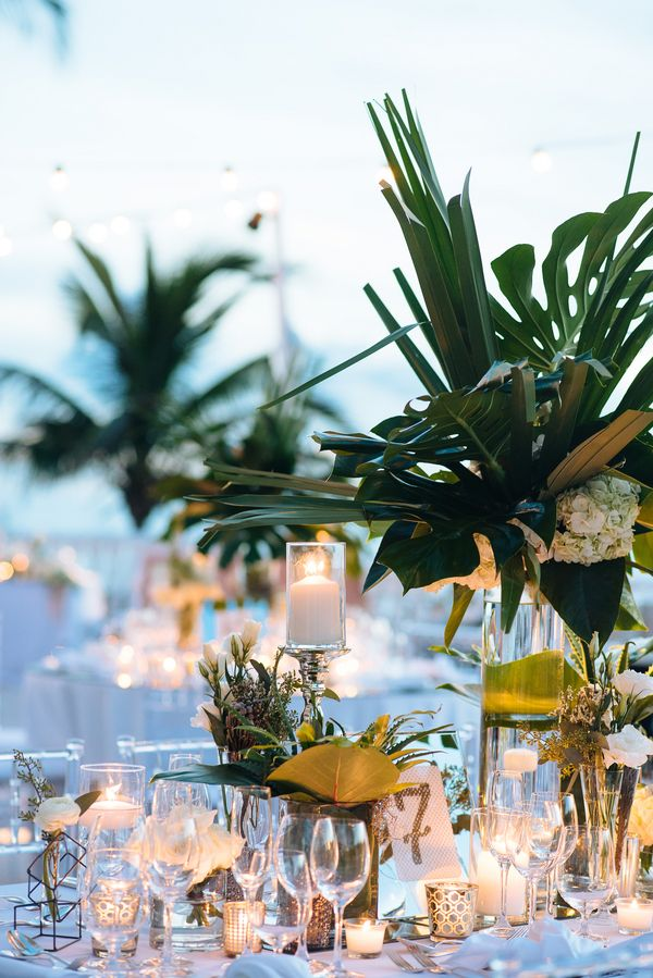 Tropical Wedding Tablescape with Gold and Crystal Decor | Alexander Masters Photography on @myhotelwedding via @aislesociety
