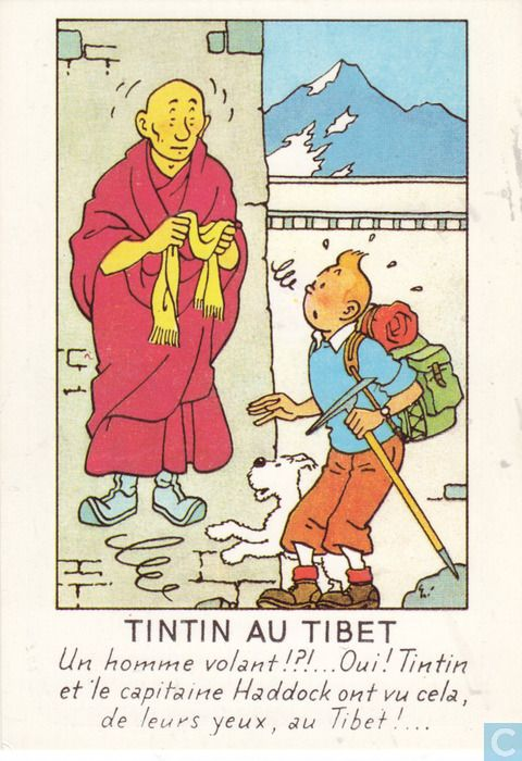 "This scene is from ""Tintin in Tibet"" . The floating monk is Blessed Lightning of the Monastery of Khor -- Biyong ."