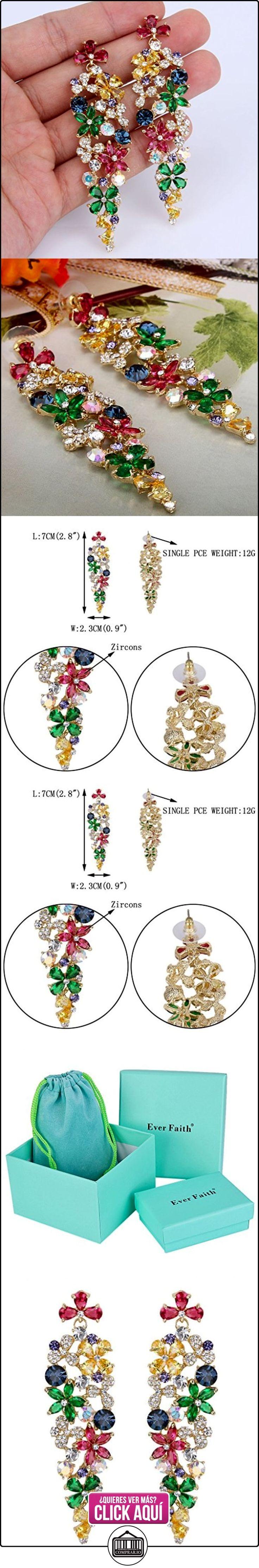 Ever Faith® - CZ Brillante Hibiscus Flor Vino Cristal Boda Novia Pendientes Oro-Tono Multicolor N06164-3  ✿ Joyas para mujer - Las mejores ofertas ✿ ▬► Ver oferta: http://comprar.io/goto/B010V1K7GY