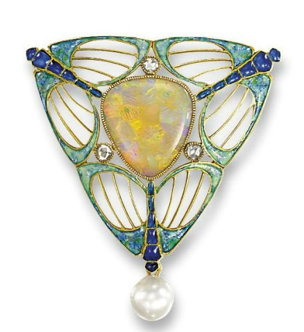 AN ART NOUVEAU OPAL, PEARL AND ENAMEL BROOCH, BY GEORGES FOUQUET The triangular-shaped opal set within an openwork frame depicting three blue and green enamel stylised dragonflies, interspersed with three rose-cut diamonds to the pearl drop, pearl untested, circa 1900.
