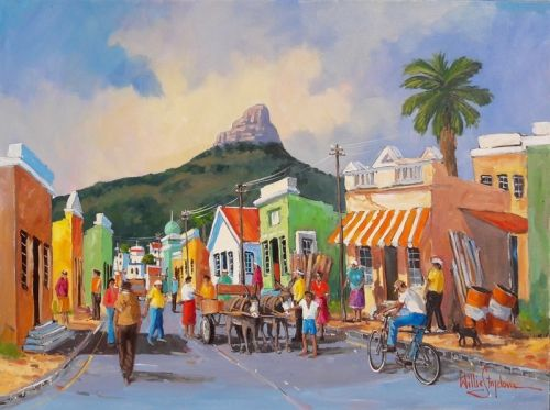 Landscape Paintings Oil Painting - Bo-Kaap Busy Morning by Willie Strydom