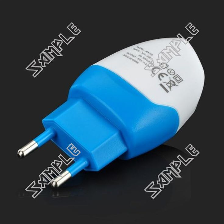 Stylish AC Charging Adapter Charger w/ Dual USB Output for IPHONE / IPAD - White + Blue (EU Plug)