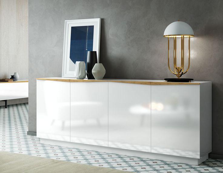Buffet enfilade contemporain couleur chne clair et blanc laqu SIBI  Meubles  Pinterest