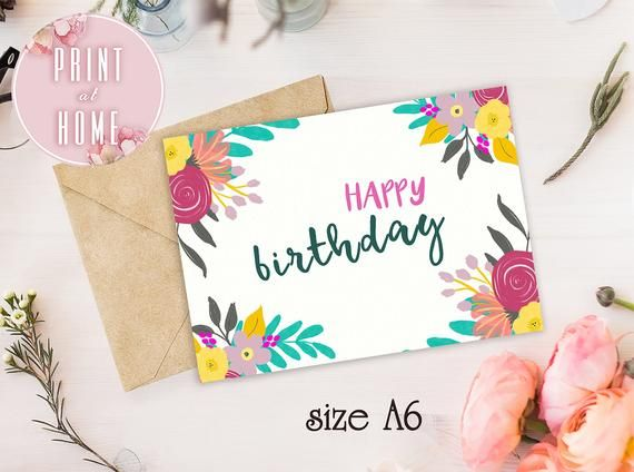 Birthday Card For Her Happy Birthday Printable Card Bday Instant