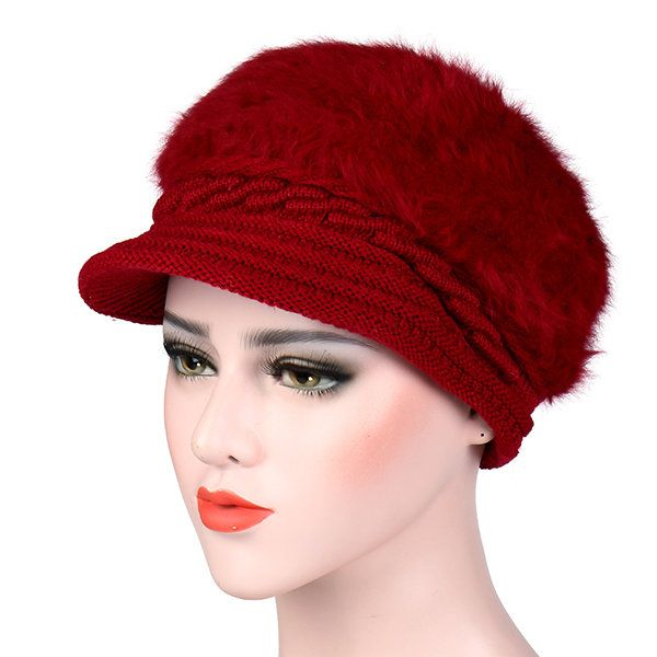 Womens Knitted Woolen Stripe Beret Cap Elegant Ladies Hats Fashionable Comfortable Caps  #women #fashion #accessories