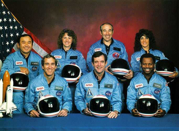 The Space Shuttle Challenger Disaster:  28 January 1986.  Left to right: (front row) Michael J. Smith, Dick Scobee, Ronald McNair; (back row) Ellison Onizuka, Christa McAuliffe, Gregory Jarvis, Judith Resnik.