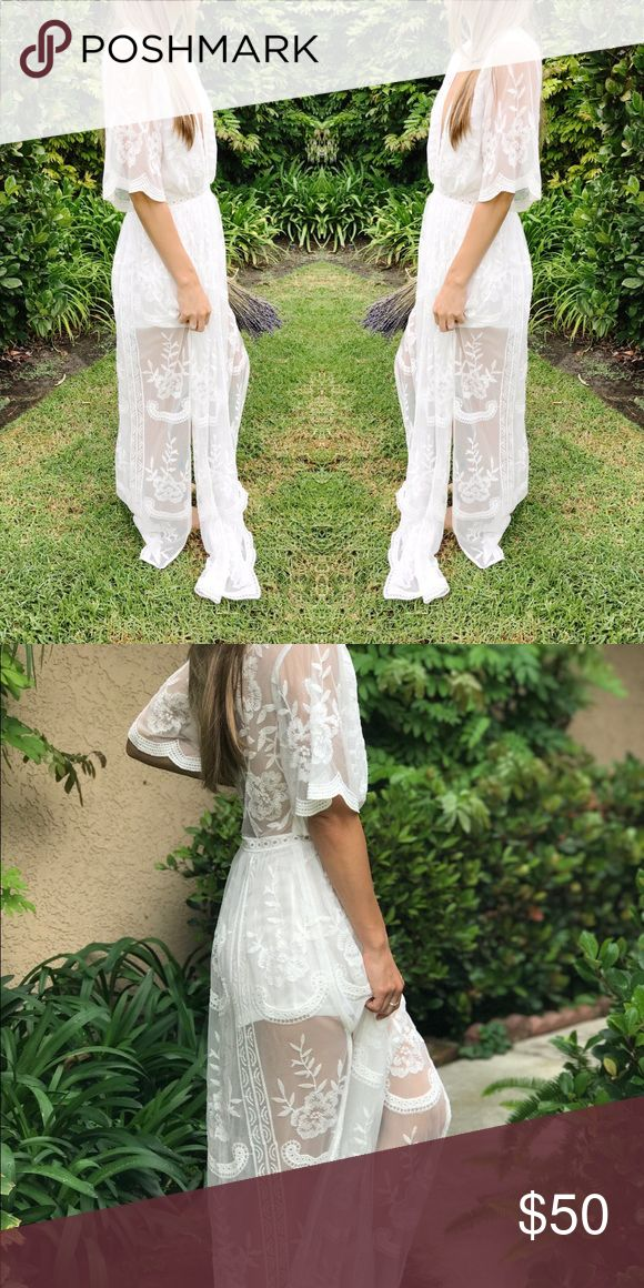 Honey Punch Lace White Maxi Model wearing size small. Runs true to size. Dress Details: Lace maxi with full zip on the back and attached slip with lined shorts inside. 100% polyester. Perfect for Bridal Parties! Honey Punch Dresses Maxi