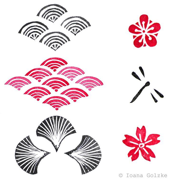Stempel mit japanische Muster Wellen Kirsche Blumen Libelle schwarz rot