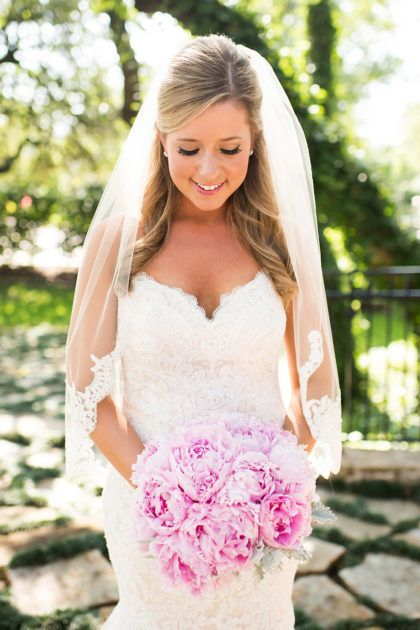 Beautiful Bride + Beautiful Blooms. Honestly what is more perfect than a bouquet of pink peonies? | Photographer: Andrea Elizabeth Photography | Florist: Lush Couture Floral | Bridal Gown: Pence and  Panache Bridal and Tuxedo #bridesofnorthtx #bridalbeauty #bride