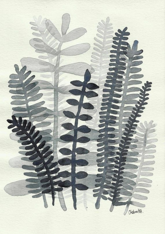 Fern Fronds no. 05  Original Small Ink Painting by 26Seeds on Etsy, $20.00