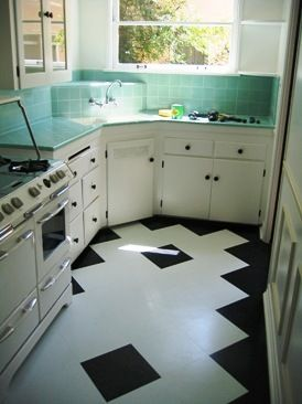 Very cool art deco kitchen.  The landlord seems to be awesome from what i've been reading!