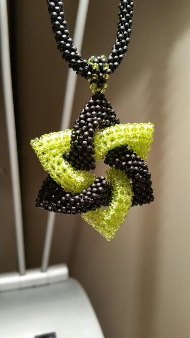 Cubic Right Angle Weave necklace. Flat Right Angle Weave bail. Cubic Right Angld Weave pendant.   11/0 Toho beads, Black and White Wildfire Beading Line.