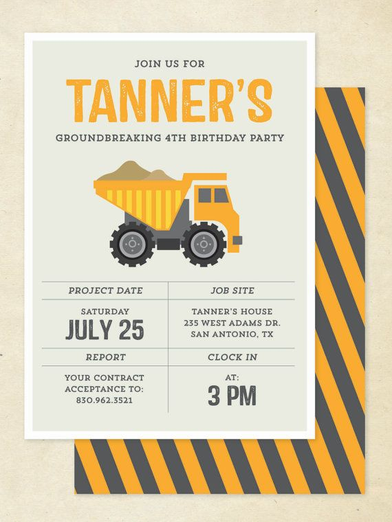 Construction Birthday Invitation Construction by goodmancodesign, $20.00