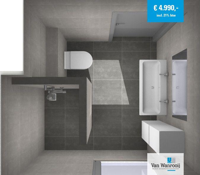 Deze badkamer heeft een afmeting van 2,37 x 2,3 meter en bestaat grotendeels uit producten van ons eigen merk Brent. Meer info: http://vanwanrooijtiel.nl/product/complete-badkamer-brent/