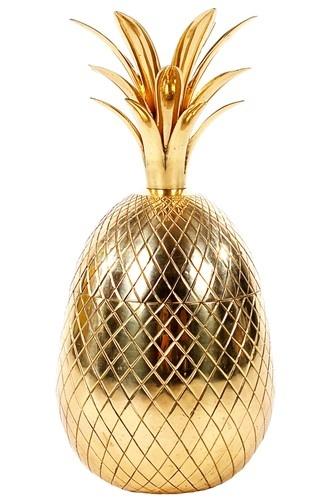 Hollywood Regency Brass Pineapple Ice Bucket | Mid Century Modern Era