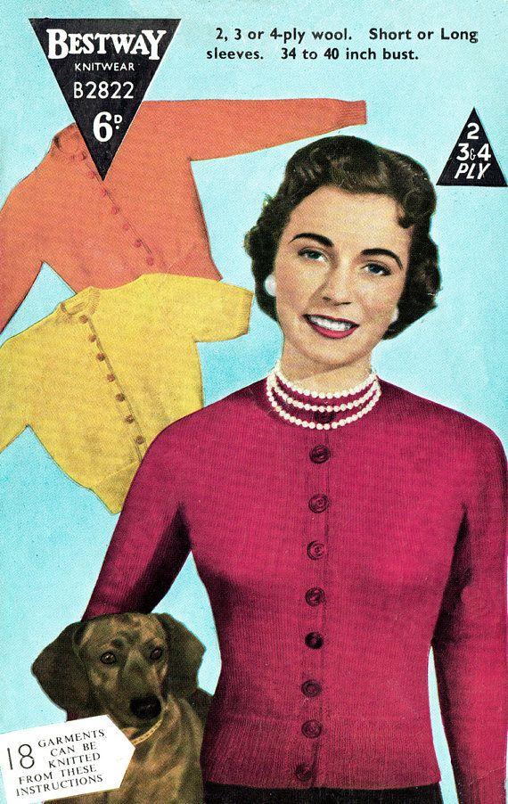 PDF Vintage 1950s Womens Ladies  Knitting Pattern Bestway