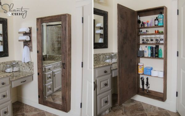 Самодельный шкаф с большим зеркалом