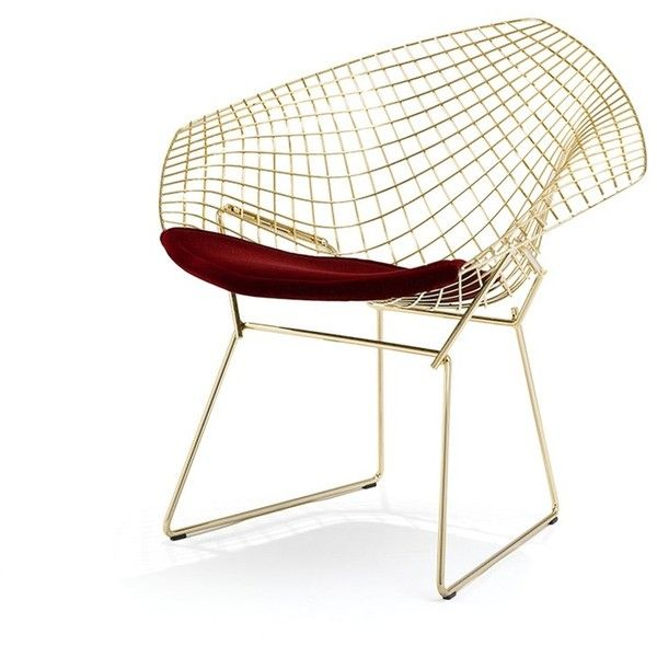 Knoll Bertoia diamond chair (26,675 CNY) ❤ liked on Polyvore featuring home, furniture, chairs, diamond furniture, diamond chair, mod furniture, knoll furniture and modern furniture