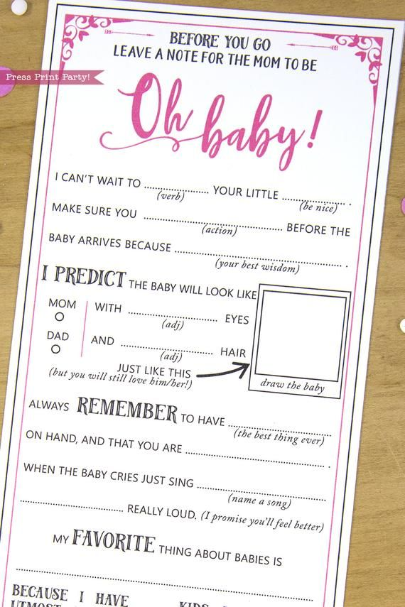 Baby Shower Games Mad Libs Advice Card Blue With Images Baby