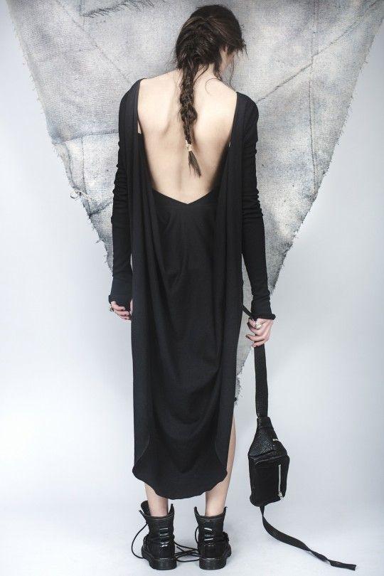#ALMAZ Black Jersey Dress /// Leather Waist Bag