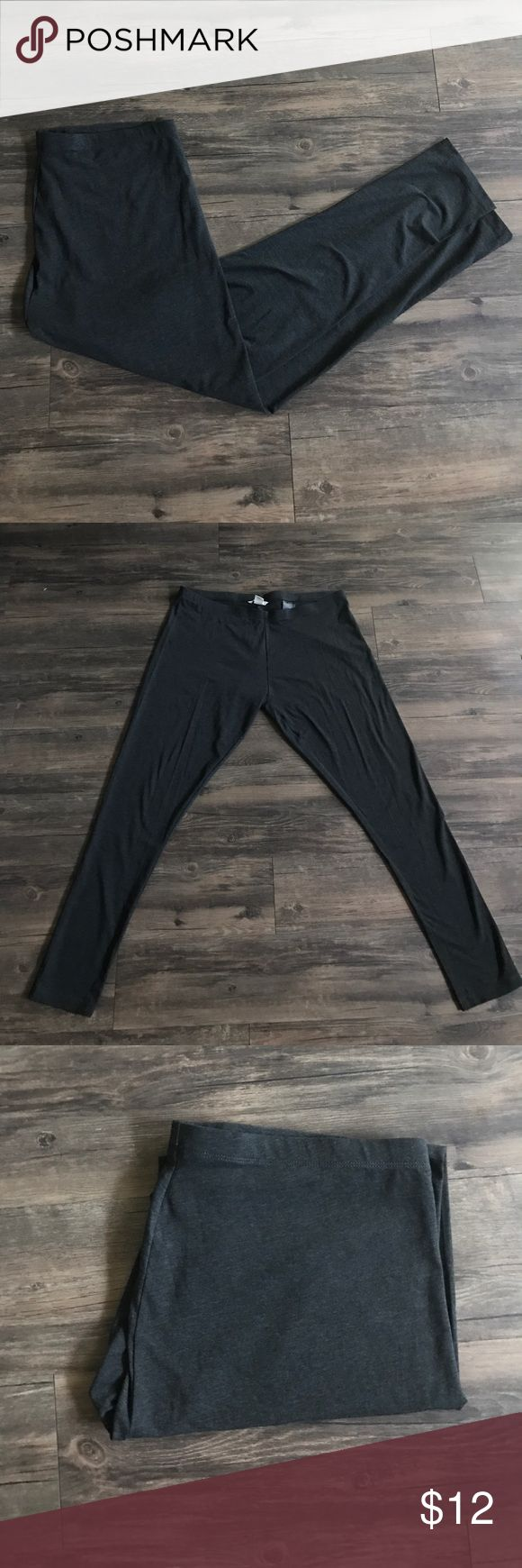 """Never worn! (PLUS) Grey H&M leggings Never worn! These are dark grey leggings from H&M size XL. Fits a 14/16 comfortably! They are long 32"""" inseam. H&M Pants Leggings"""