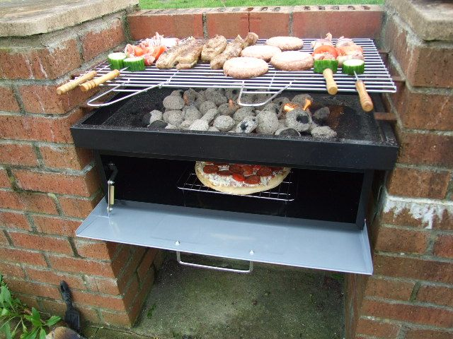Brick bbq with oven underneath outdoors and gardening for Bbq grill designs and plans