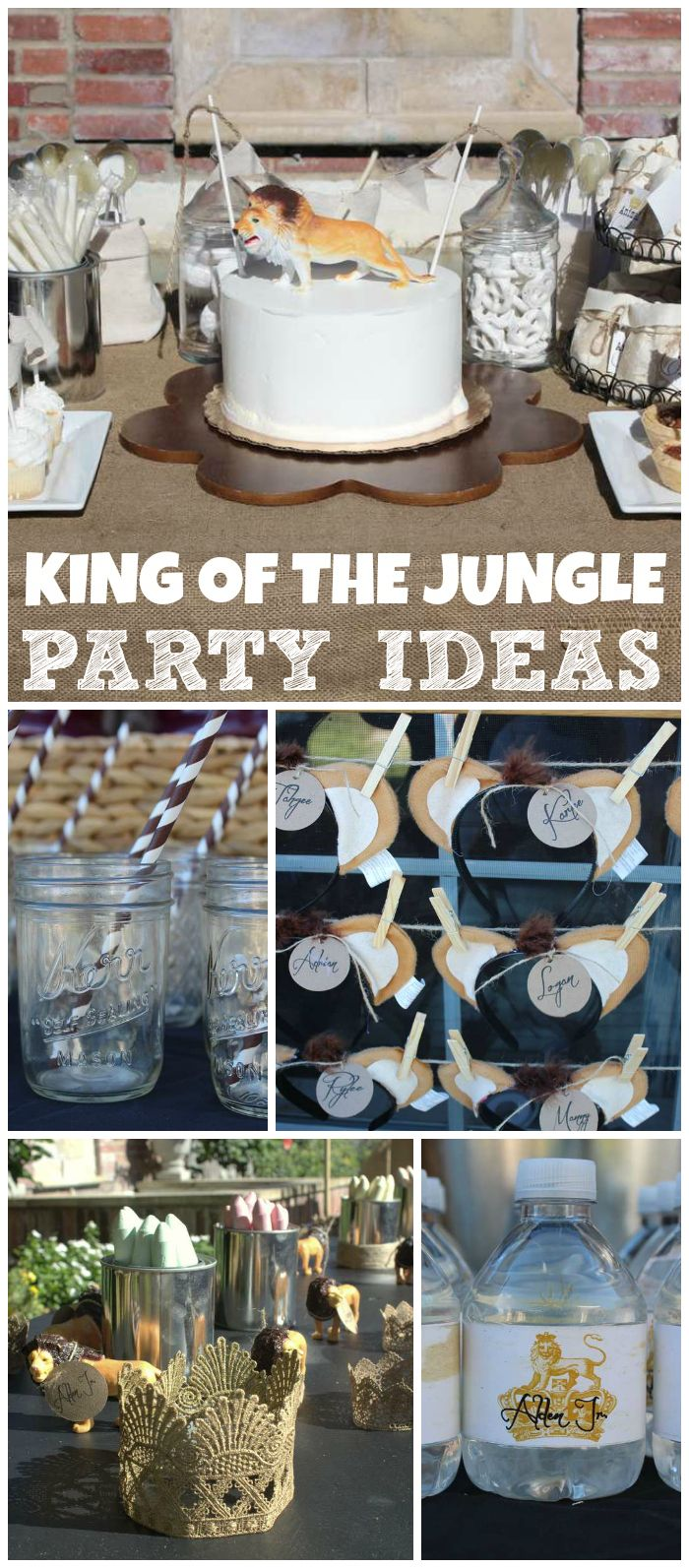 A lion themed king of the jungle boy birthday party for a boy who loves to roar!  See more party planning ideas at CatchMyParty.com!