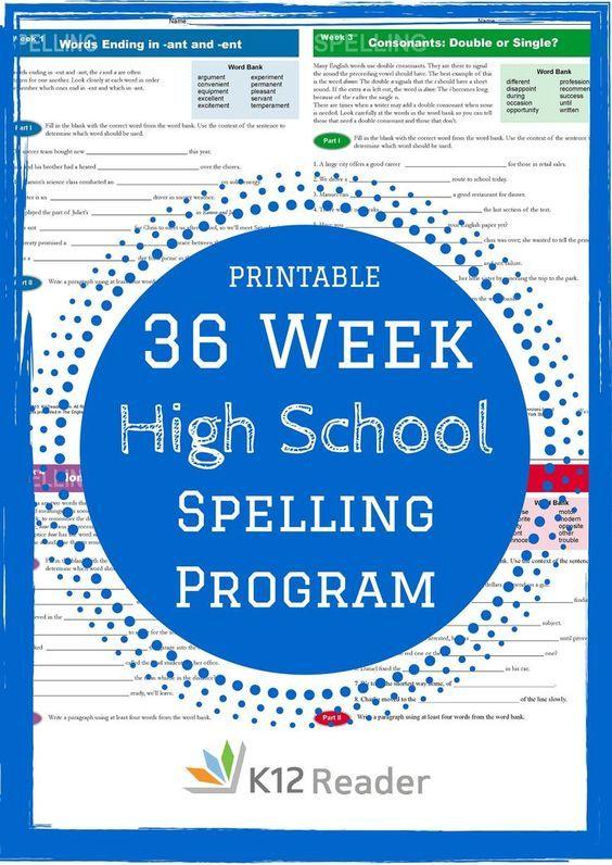 FREE Printable 36-Week High School Spelling Program