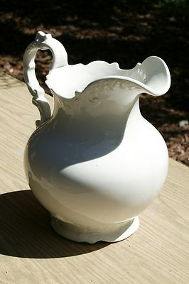 Beautiful Crown Pottery White American Ironstone Water Pitcher EXC Early 1900'S