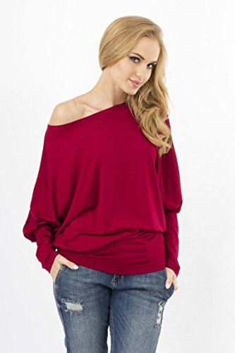 0e7ce61890757b HoLeis Women's Off Shoulder Long Batwing Sleeve Loose Pullover Casual Top  Blouse T-Shirt