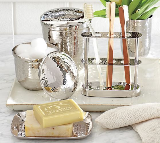 Hammered Nickel Bath Accessories #potterybarn