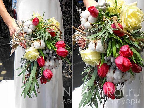 Букет свадебный из тюльпанов, брунии, эвкалипта