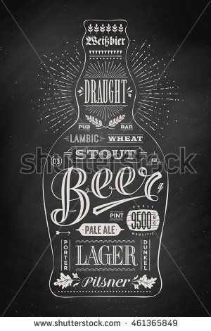 Drawing For Pub Bar Menu Beer Card T Shirt Print And Themes Isolated Black Bottle Of Wih Lettering On Chalkboard