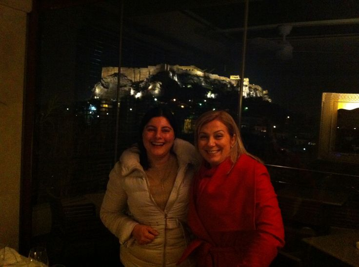 Dinner with my friend celebrity chef Dina Nikolaou. Acropolis in the background.