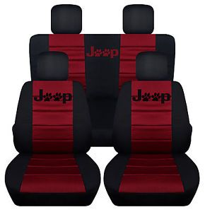 Front & Rear Black-Burgundy Seat covers Paw prints 2Door Jeep Wrangler 2011-2016