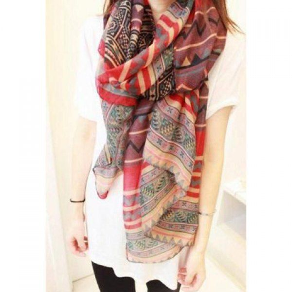 Bohemian Style Wave and Stripe Pattern Design Scarf For Women, RED in Scarves | DressLily.com