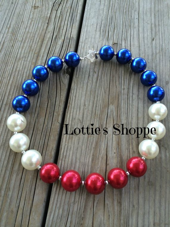 Girls Patriotic 4th of July Red White Blue Pearl . Get your faux pearls at www.fizzypops.com, we have a huge selection of colors and sizes and fabulous tutorials!