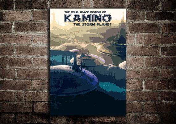 Kamino Star Wars Retro Style Planet Postcard Poster Print (Available In Many Sizes)