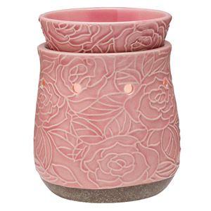 CRACKLING ROSE Wärmer by Scentsy    Sonnen Sie sich in der Schönheit eines Mittsommer-Gartens mit abstrahierten, rosa blühenden Rosen und einer raffinierten Reißglasur.